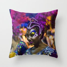 Costumed Attractive Dancer Woman at Carnival Parade of Uruguay Throw Pillow
