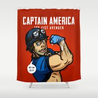 avenger Shower Curtains featuring Steve Rogers, The Fist Avenger by Randy Meeks