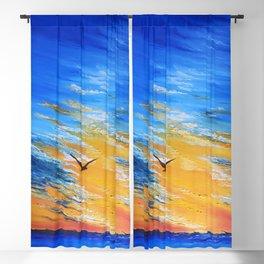 ocean sunset, original oil painting landscape, blue wall art, beach decor Blackout Curtain