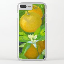 Orange Tree with Oranges and Blossoms Clear iPhone Case