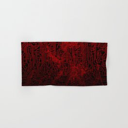 Red Cybernetic Circuit Board Crackle Grunge Texture Hand & Bath Towel