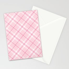 Blush Pink Plaid Stationery Cards