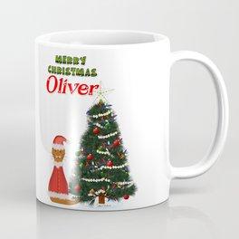 Oliver Dressed as Santa by His Christmas Tree Coffee Mug
