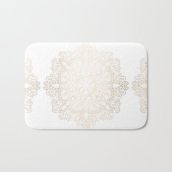 Mandala White Gold Shimmer by Nature Magick Bath Mat