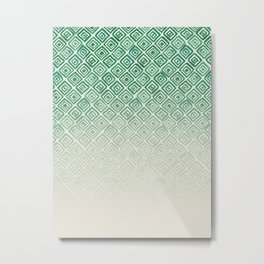 Ombre Watercolor Triangle Pattern (Green) Metal Print
