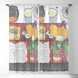 Japanese Bento Box Sheer Curtain