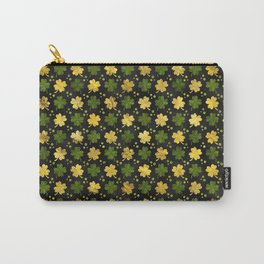 Irish Shamrock Four-leaf clover  Gold black Carry-All Pouch