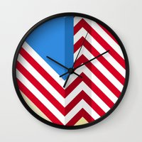 flag Wall Clocks featuring Flag by Ryan Winters