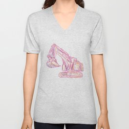 Excavator Abstract Unisex V-Neck