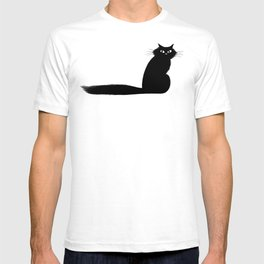 Side Eye Black Cat with Long FLuffy Tail T-shirt