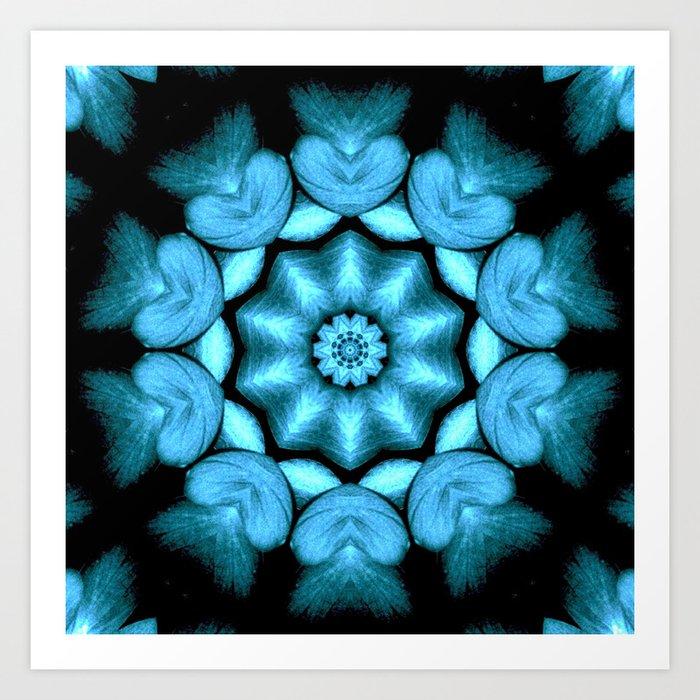 blue green heart mandala kaleidoscope pattern art print by costa