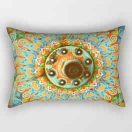 Rainbow Painted Cart Wheel Mandala Rectangular Pillow