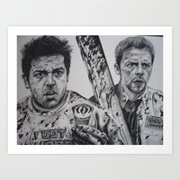 shaun of the dead Art Prints featuring SHAUN OF THE DEAD by waynemaguire777