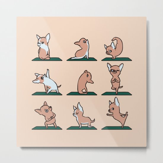 Chihuahua Yoga Metal Print