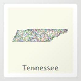 Tennessee map Art Print
