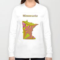 minnesota Long Sleeve T-shirts featuring Minnesota Map by Roger Wedegis