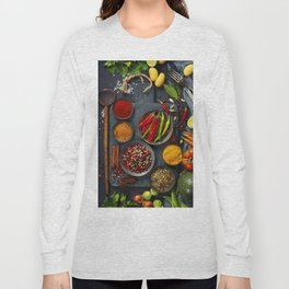 Fresh delicious ingredients for healthy cooking  on rustic background Long Sleeve T-shirt