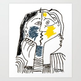 Pablo Picasso Kiss 1979 Artwork Reproduction For TShirts, Framed Prints Art Print