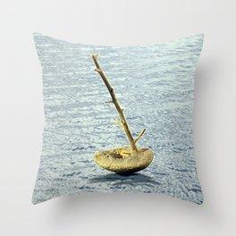 Stone-Sailboat on a Silver Sea Throw Pillow