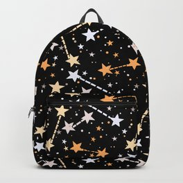 Night sky with gold silver stars Backpack