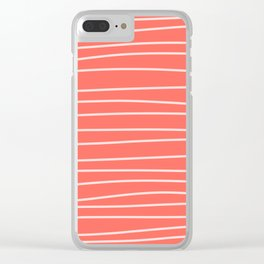 Coral Brush Lines Clear iPhone Case