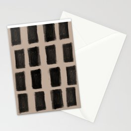 Brush Strokes Vertical Lines Black on Nude Stationery Cards