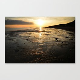 Sunset on the beach at low tide Canvas Print