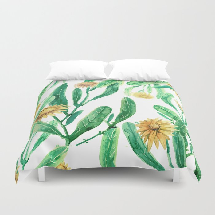 yellow flowers on sunny day Duvet Cover