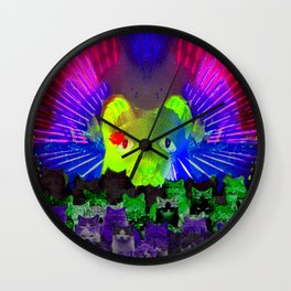 Neon Cat Laser Light Show Wall Clock
