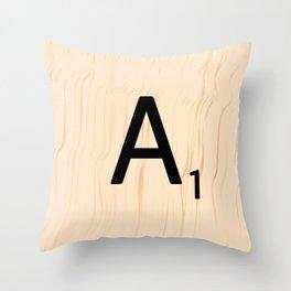 Letter A Scrabble Art Throw Pillow