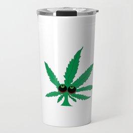 """Cartoon Weed Leaf Design"""" Marijuana leaf Leaf Travel Mug"""