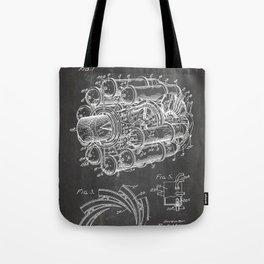 Airplane Jet Engine Patent - Airline Engine Art - Black Chalkboard Tote Bag