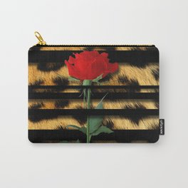 Leopard Print Black Stripes & Intertwining Rose Carry-All Pouch