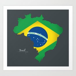 Brazil map special artwork style with flag illustration Art Print