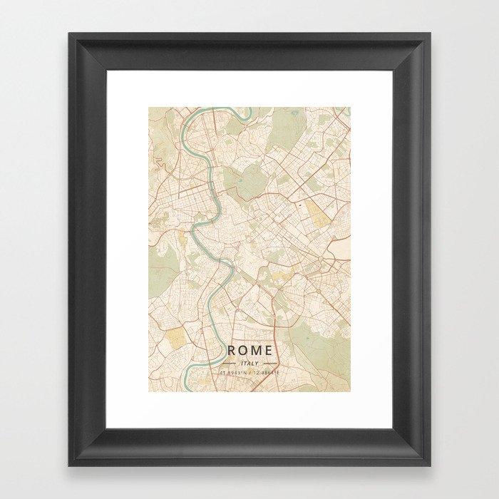 Rome, Italy - Vintage Map Gerahmter Kunstdruck