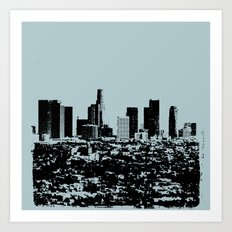 Downtown Los Angeles Skyline - Stamp Pattern on Light Blue Art Print