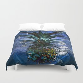 Silver Leaf Tropical Pineapple #buyart Duvet Cover