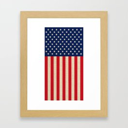 USA faux burlap flag Framed Art Print
