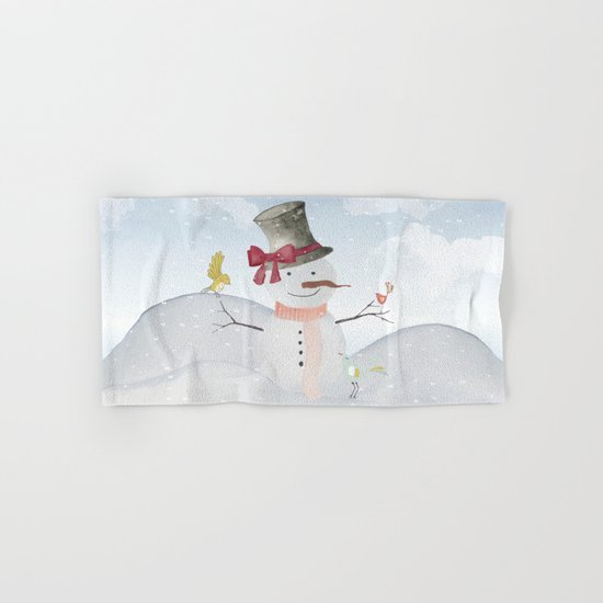 Winter Wonderland- Snowman and birds - Watercolor illustration Hand & Bath Towel