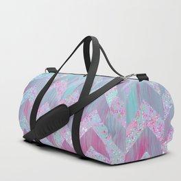 Geometrical pink teal watercolor splatters brushstrokes chevron Duffle Bag