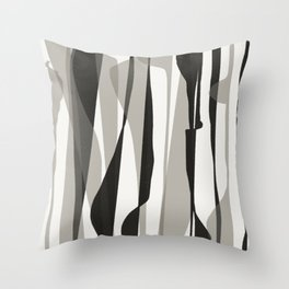Moon Lit Ripples - Black & White Minimalism Throw Pillow