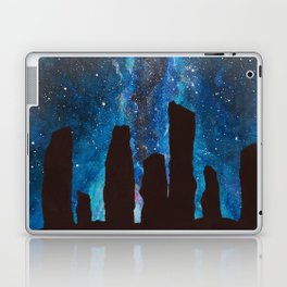 Outlander Craigh Na Dun Standing Stones Watercolor Painting with milky way galaxy Laptop & iPad Skin