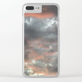Gloomy grey red clouds Clear iPhone Case