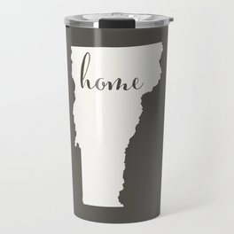 Vermont is Home - White on Charcoal Travel Mug