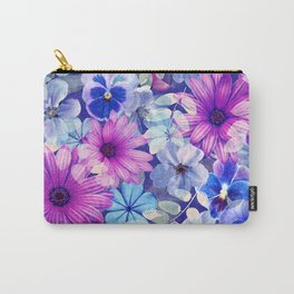 Dark pink and blue floral pattern Carry-All Pouch