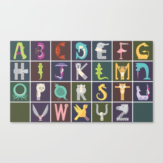 Horizontal Animal Alphabet (Complete Poster) Canvas Print