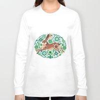 running Long Sleeve T-shirts featuring RUNNING HARE by Riku Ounaslehto