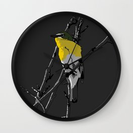 Yellow-breasted Chat - Gray Background Wall Clock