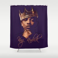 kendrick lamar Shower Curtains featuring King Kendrick by GerritakaJey