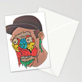 Skull Face Destroyed Corrosive Liquid Heat Storm Victim Stationery Cards